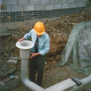 On-site installation of acid polypropylene drainage pipe work below ground