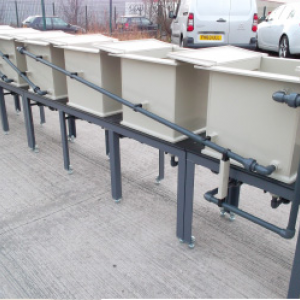 Complete small process line including tanks – galvanised and powder coated finish mounting frame and drainage pipework