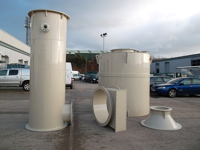 Complete fume scrubbing tower in component parts